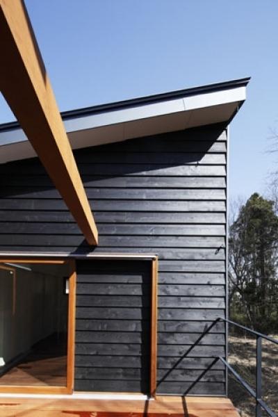 中庭型バルコニー1 (森を眺める黒い家)