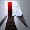 森を眺める黒い家の写真 階段