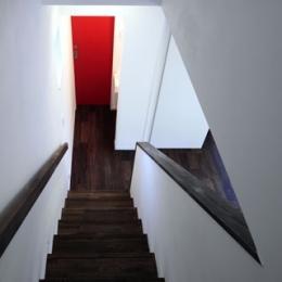 森を眺める黒い家 (階段)