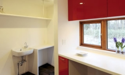 森を眺める黒い家 (家事室&キッチン2)