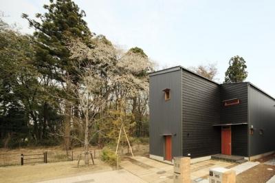 森を眺める黒い家 (外観(昼)2)