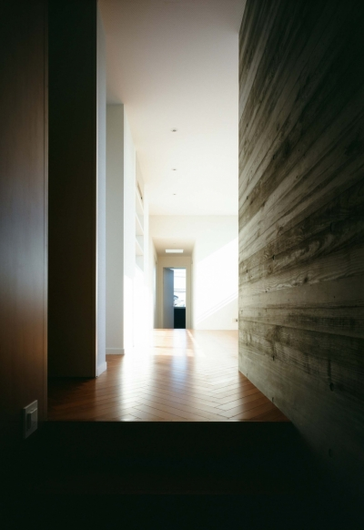 階段よりホールを見る (「H Residence」緑豊かな庭に囲まれたRC造の邸宅)