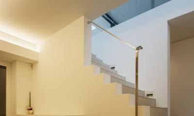 「S Residence」斜面地に建つ開放的な邸宅 (玄関)