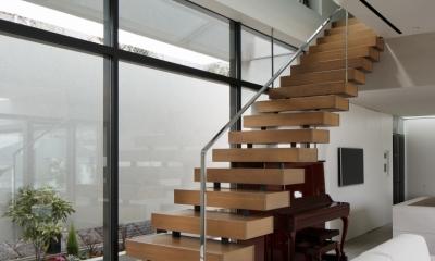 「S Residence」斜面地に建つ開放的な邸宅 (階段)