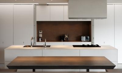 「S Residence」斜面地に建つ開放的な邸宅 (キッチン-壁面収納を開ける)