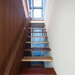 「駒場の家」左官土壁の木造3階建て (階段室)