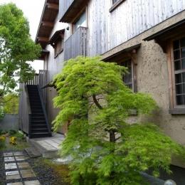 自然に溶け込む外観 (個人住宅 愛知県 2004)