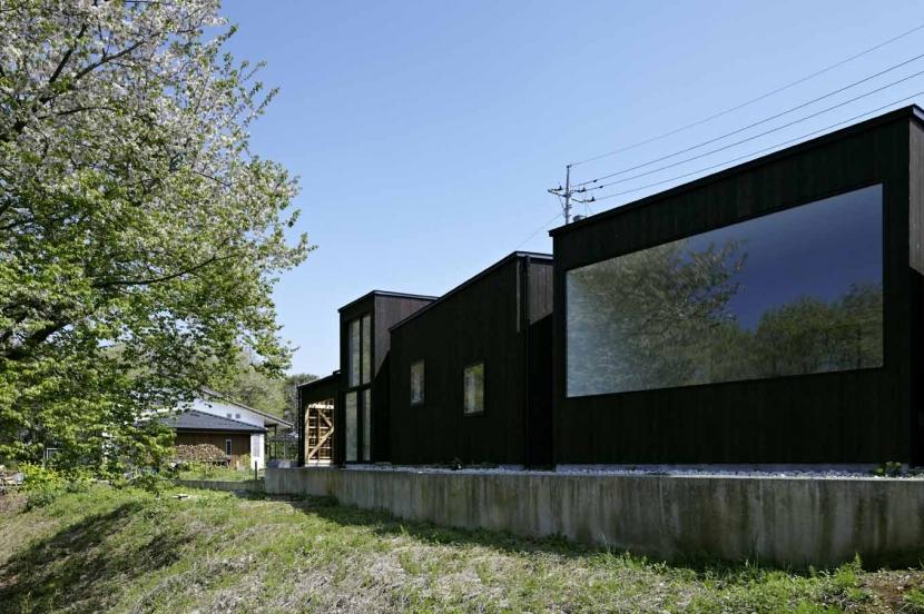 富士見ヶ丘の家の写真 多様な箱が角度を変えながら雑木林に寄り添う