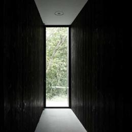 扉の存在を消したすっきりとしたエントランス (富士見ヶ丘の家)