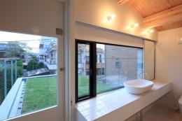 中野M-素材を引き継ぎ、緑に囲まれるお気に入りのカフェ (洗面・草屋根)