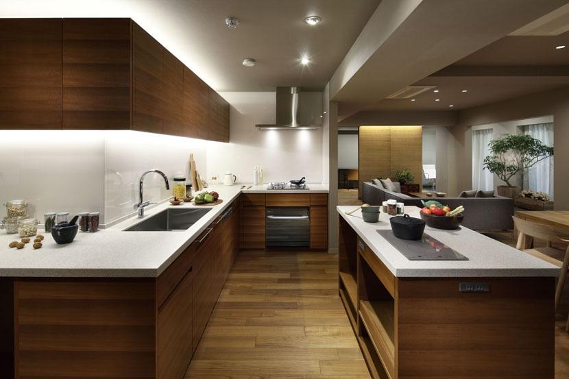全長7mのキッチン (碑文谷・時層の家)
