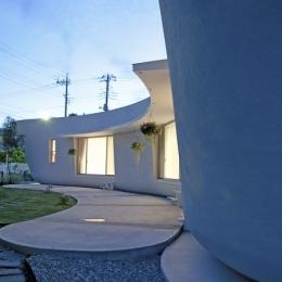緑のカーテンの家-庭