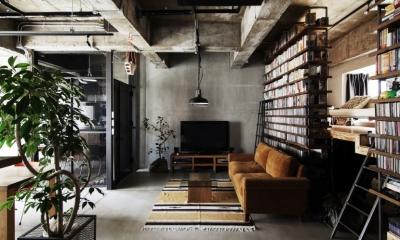 マンションリノベーション|名古屋市東区K邸 (玄関を入ると、土間のリビング)