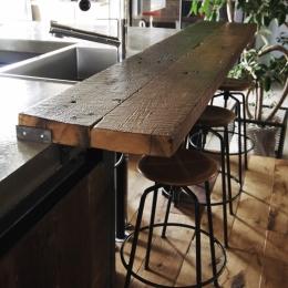 マンションリノベーション|名古屋市東区K邸-古材のカウンター