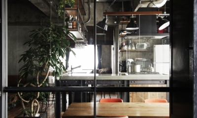 マンションリノベーション|名古屋市東区K邸 (エントランスからダイニングを望む)