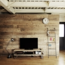 一戸建てリノベーション|名古屋市瑞穂区K邸の写真 古材の壁の後ろはウォークスルークローゼット