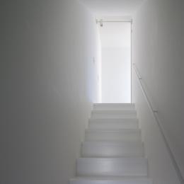 ハコノオウチ05 ルーフバルコニーのある二世帯住宅 (子世帯リビングへの階段)