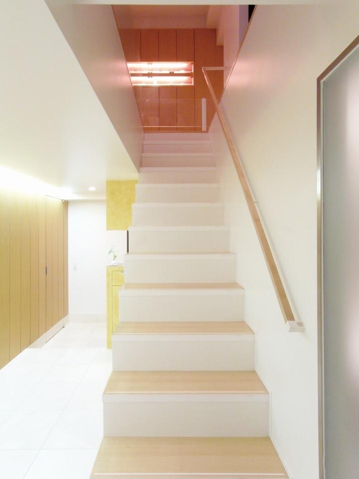 ダブルリビングのある家 (階段)