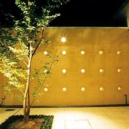 中庭のある平屋住宅 (中庭の夜景)