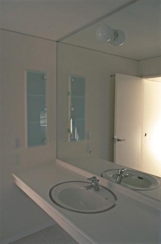 借景を取り込む家の部屋 洗面脱衣室