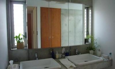 洗面脱衣室|中庭と坪庭のある家