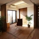 引き篭りをさせない子供室。当分は、居間の延長として使えるよう、間仕切を全て可動にして、広さを確保しました。