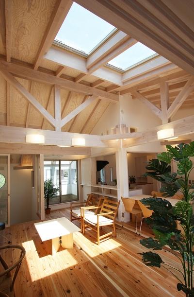 ツインバルコニーの家 (とっても明るい開放的なリビング)