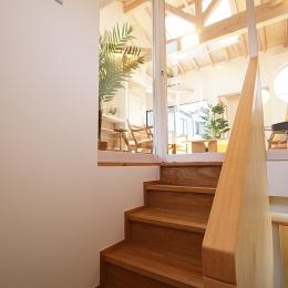 ツインバルコニーの家 (1間巾でもゆったりした階段)