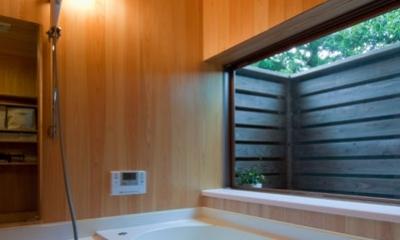 アオハダの家 -北側の田園風景を臨む住まい- (浴室)