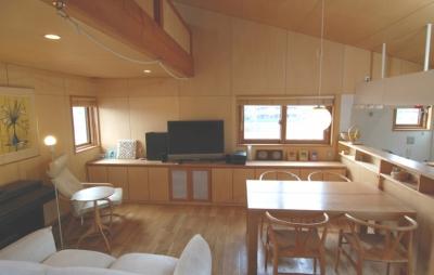 壁・天井シナ合板 (小さな家~緑の中で暮らす木のアトリエ付住宅~)