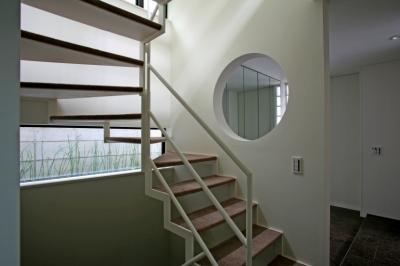 階段から地窓 (ひかりを組み込む家)