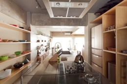 壁のシェルフがマイギャラリー 愛猫と暮らす料理人夫婦 (キッチン2)