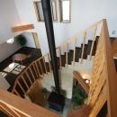 吹抜見下ろしです。各部屋を通って徐々に昇っていく階段はドラマチック。