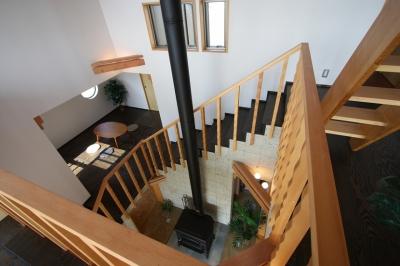 海の見える家 (吹抜見下ろしです。各部屋を通って徐々に昇っていく階段はドラマチック。)