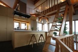 海の見える家 (階段より厨房を見る。開放的なアイランドキッチン・居間・食堂。)