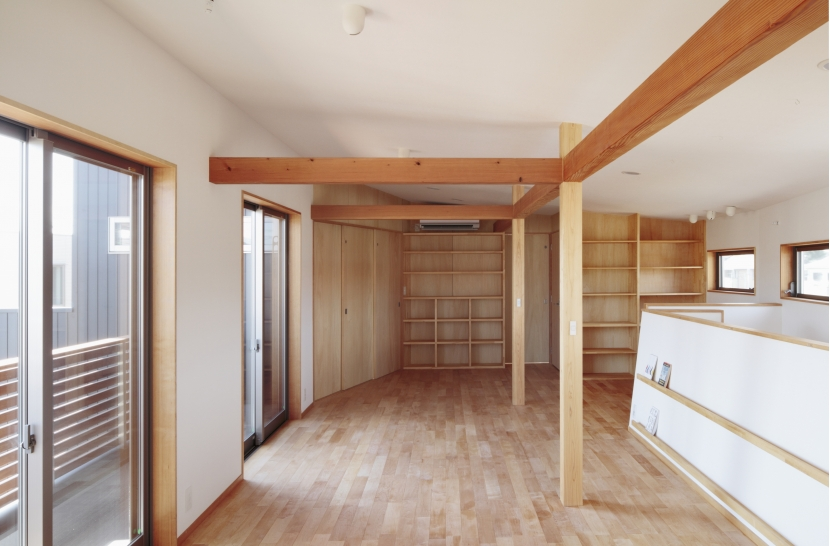 カフェ・ライブラリーの家の部屋 将来仕切れる子ども部屋