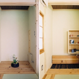 らあめん店の家 (床の間が水屋に早変わり。タタミコーナーが茶室に・・・趣味のお茶もたてられます。)
