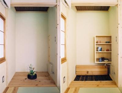 床の間が水屋に早変わり。タタミコーナーが茶室に・・・趣味のお茶もたてられます。 (らあめん店の家)