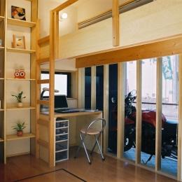 らあめん店の家 (好きなバイクが室内にいながら、ベットに寝ていても、眺められる部屋です。)