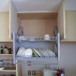 らあめん店の家 (重い食器でも楽々、吊戸棚。)