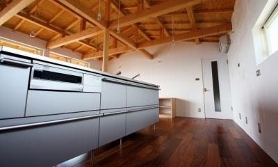 箕面森町の家:箕面森町の注文住宅 . 屋根裏ゲストルームのある平屋建て住宅 (キッチン)