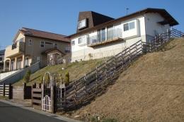 箕面森町の家:屋根裏ゲストルームのある平屋建て住宅 (斜面下からの全景)
