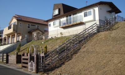 箕面森町の家:箕面森町の注文住宅 . 屋根裏ゲストルームのある平屋建て住宅 (斜面下からの全景)