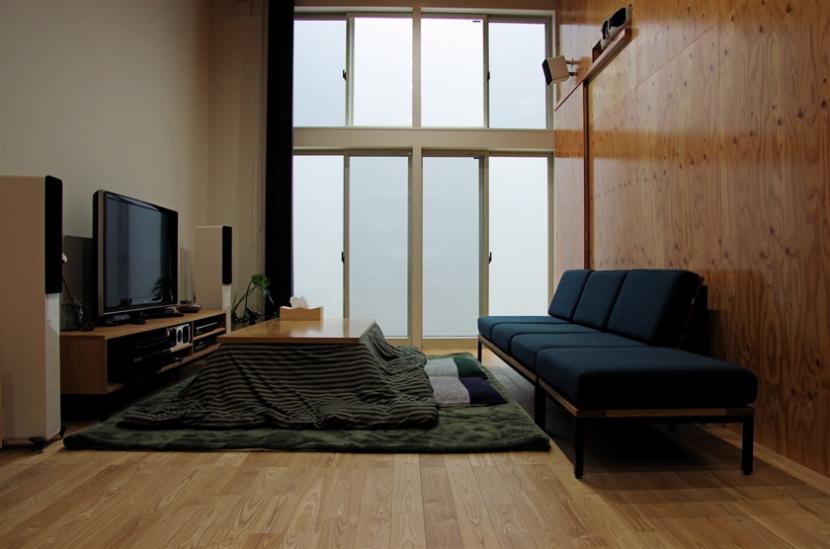 デザインを極めた黒い箱の部屋 リビング