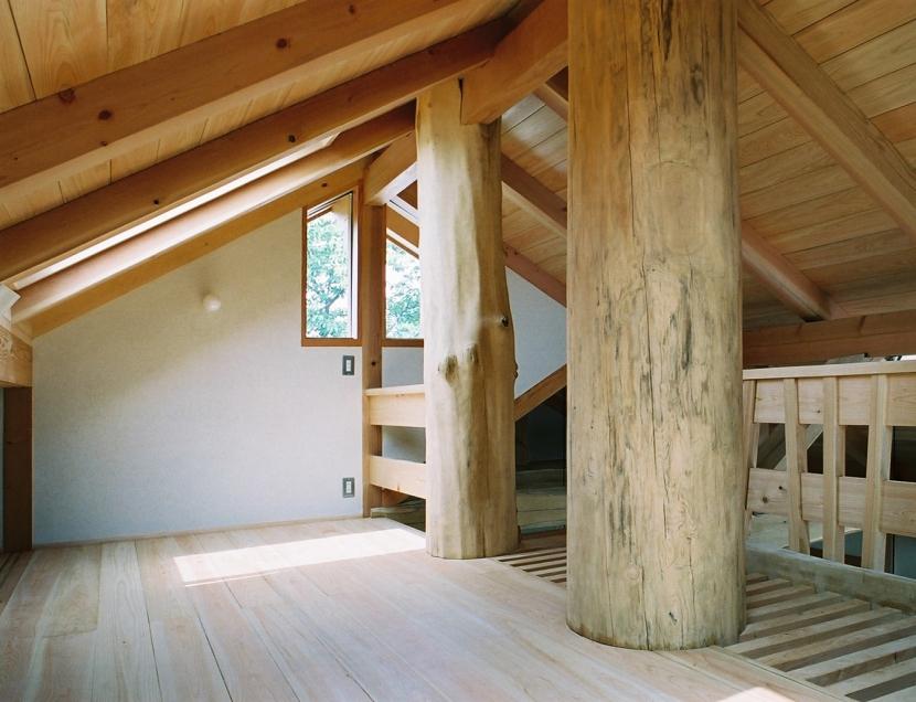 大木を柱に3本使った家の部屋 大木が棟まで突き抜けたロフト