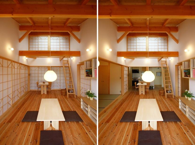 全て障子で仕切る家の部屋 障子で仕切る柔らかなリビングダイニング