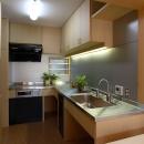大容量の収納、大工さんの造るキッチン