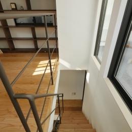 千代崎の家:超狭小変形角地の2階建てスキップフロア (階段)