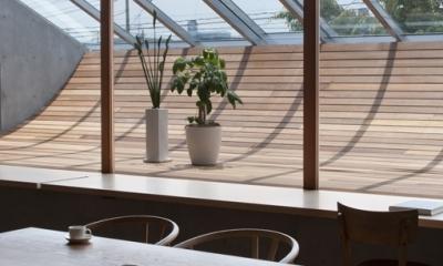 FLAP (ダイニングテーブルからサンルーム越しに景色を眺める)