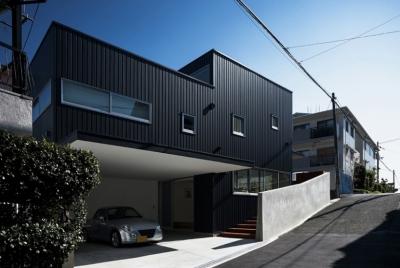 燕居 swallow house (地形の坂に合わせた内部のスキップフロアが感じられる外観)